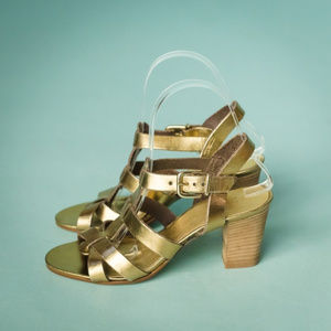 J Crew 7 Gold Leather Metallic Slingback Sandals